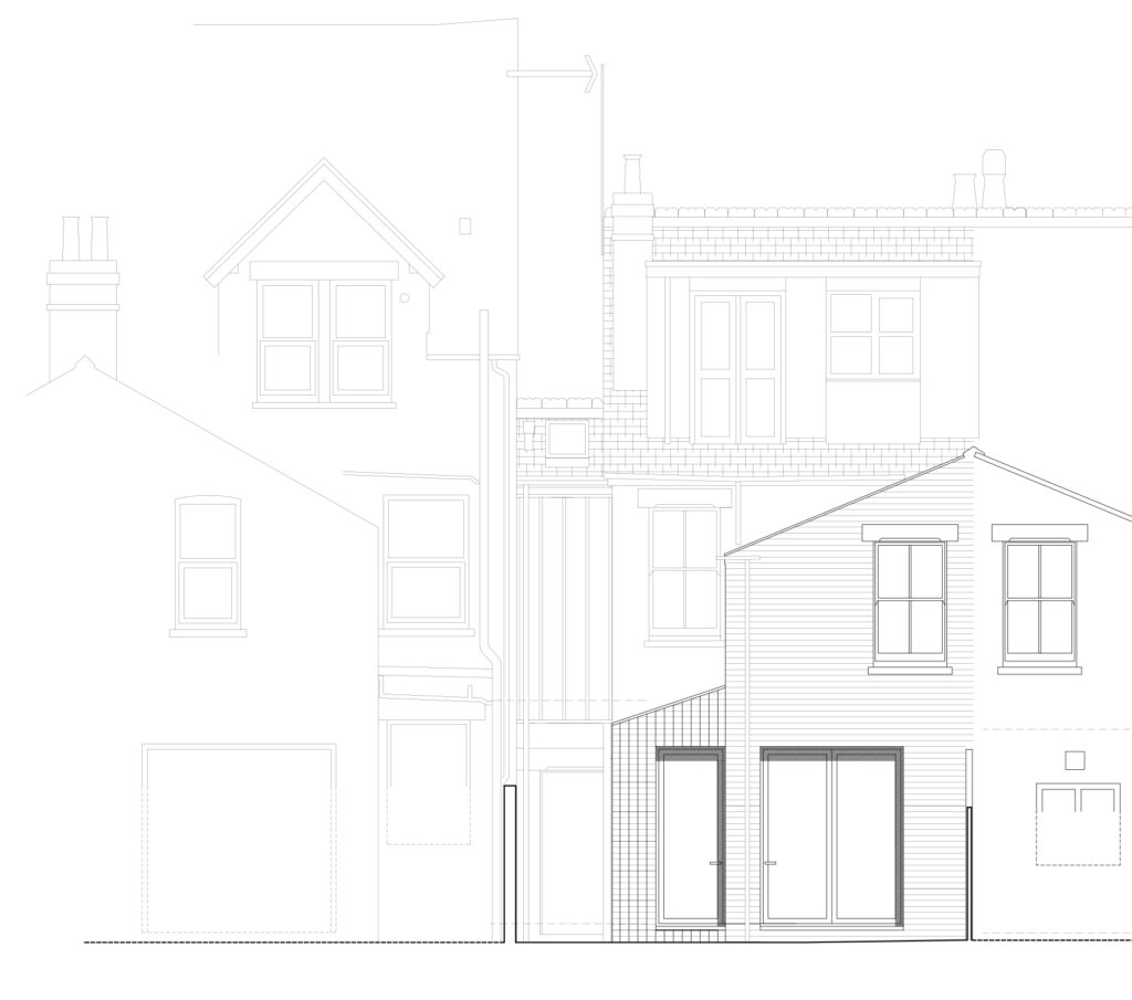 East Oxford side and over extension rear elevation drawing Resonant Architecture.