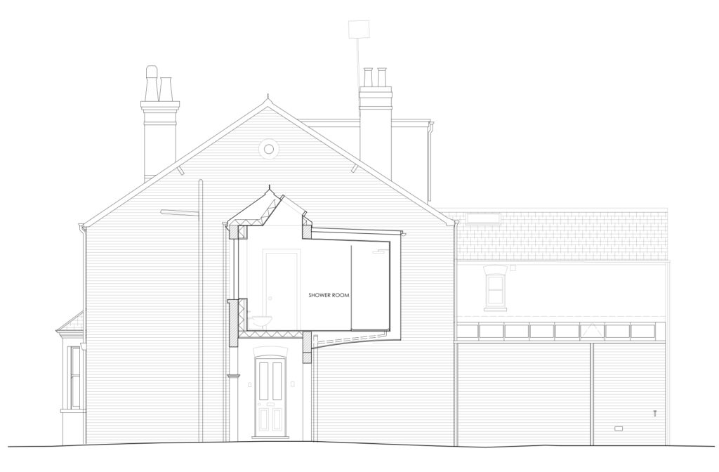 East Oxford side and over extension side elevation drawing Resonant Architecture.